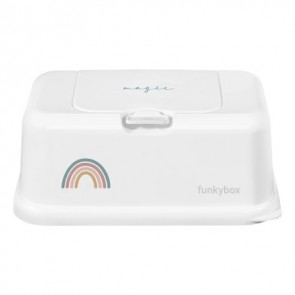 FunkyBox Wipe Dispenser Magic in Mat White with Rainbow