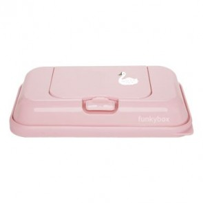 FunkyBox Wipe Dispenser To Go Blush Pink with Swan