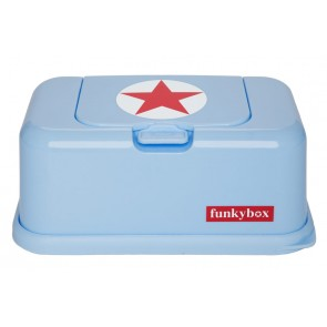 FunkyBox Wipe Dispenser Light Blue with Red Star