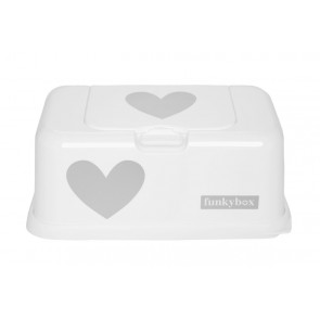 FunkyBox Wipe Dispenser White Hearts