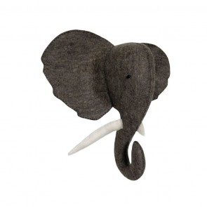 Grey Elephant Head Wall Decoration