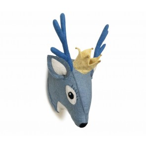 Blue Deer Head Wall Decoration