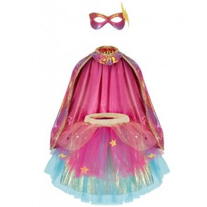 Super-Duper Tutu Cape and Mask Set in Pink & Gold