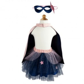 Super-Duper Tutu Cape and Mask Set in Pink & Navy