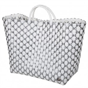 Lima Shopper in White with Silver Pattern