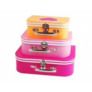 Set of 3 Heart Suitcases