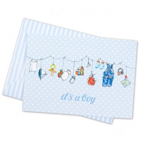 Card with Blue Clothesline