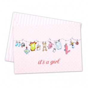 Card with Pink Clothesline