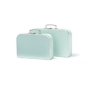 Set of 2 Paper Suitcases in Light Green