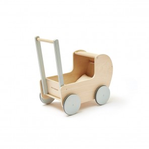 Wooden Dolls Pram in Natural / Dusty Green