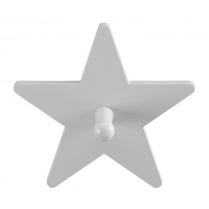 Grey Wooden Single Star Clothes Hook