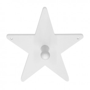 White Wooden Single Star Clothes Hook