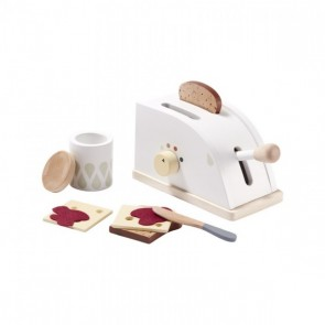 White Wooden Toaster Set