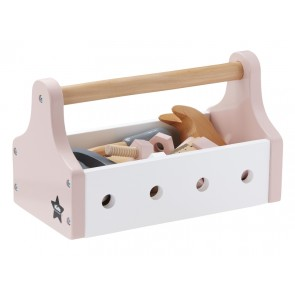 Wooden Tool Box in Pastel Pink