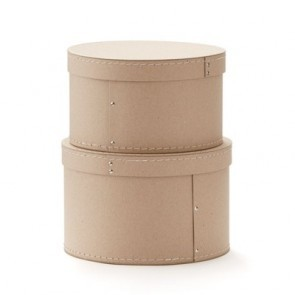 Round Storage Boxes in Natural