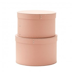 Round Storage Boxes in Dusty Pink