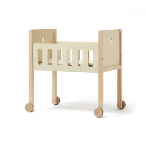 Wooden Doll's Bed with Wheels and Bedding