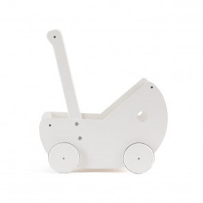 Wooden Doll's Stroller with Bedding in White