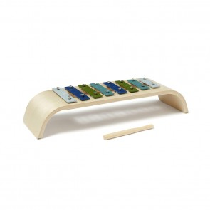 Round Wooden Xylophone in Blue/ Multi
