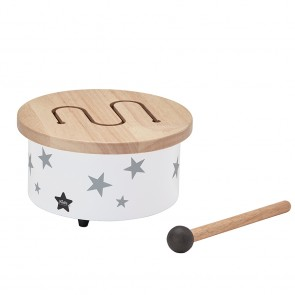 Mini Drum in White with Grey Stars