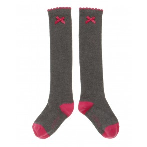 Knee-Highs in Grey with Pink
