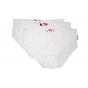 A Set of 3 Embroidered Briefs in White