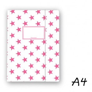 DIN A4 Elasticated Folder in White with Pink Stars