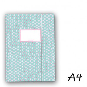 DIN A4 Elasticated Folder in Turquoise with Pink Dabs
