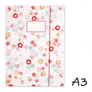 DIN A3 Elasticated Folder with Flowers