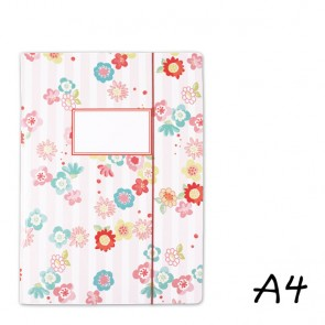 DIN A4 Elasticated Folder with Flowers