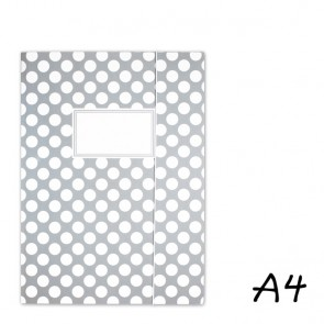 DIN A4 Elasticated Folder in Grey with White Dots
