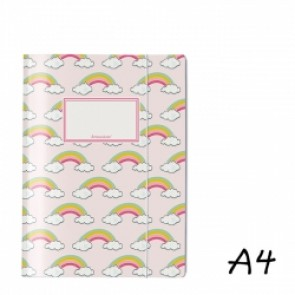 DIN A4 Elasticated Folder in Pink with Rainbows