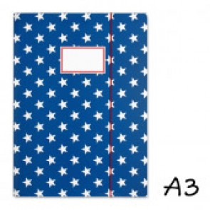 DIN A3 Elasticated Folder in Dark Blue with Stars