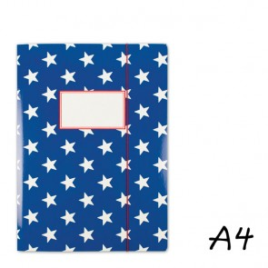 DIN A4 Elasticated Folder in Dark Blue with Stars