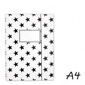 DIN A4 Elasticated Folder in White with Black Stars