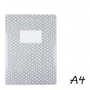 DIN A4 Elasticated Folder in Grey with Pink Dabs
