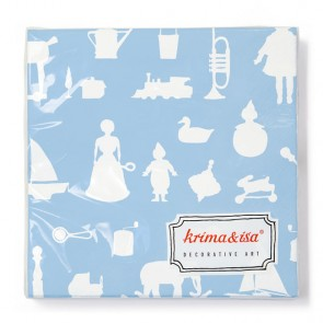 Napkins with Vintage Toys in Blue