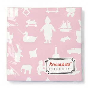 Napkins with Vintage Toys in Pink