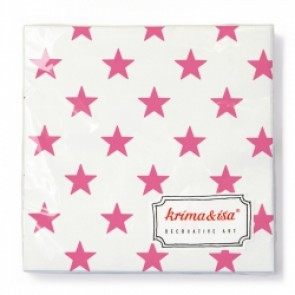 White Napkins with Pink Stars