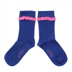 Set of 2 Lace Socks in Blue and Pink
