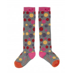 Sparkling Dots Knee Socks in Mid Grey
