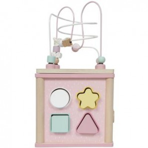 Wooden Shape Activity Cube in Adventure Pink