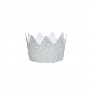 Set of 8 Glitter Crowns in Silver