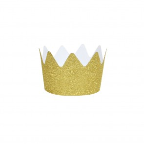 Set of 8 Glitter Crowns in Gold