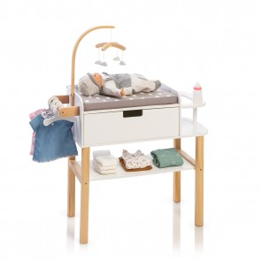 Doll Changing Table Barlia in Natural/ White