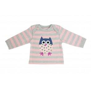 Girls T-Shirt with Applique Owl in Grey & Pink