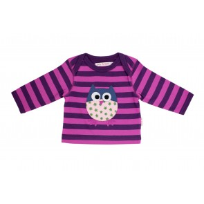 Girls T-Shirt with Applique Owl in Purple & Pink