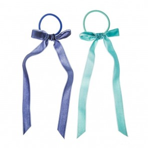 Pollyanna Long Velvet Bow Ponies Blues
