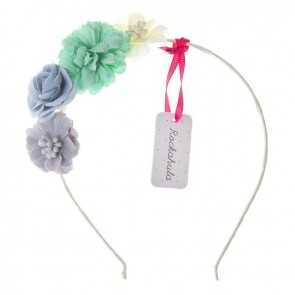 Tallulah Flower Hair Band in Grey Green