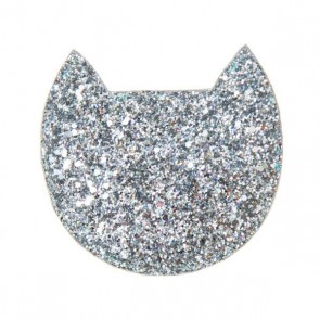 Cat Glitter Purse in Silver